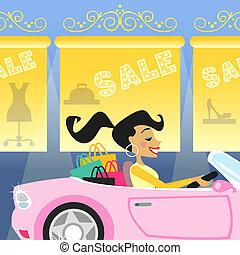 autó, leány, bevásárlás