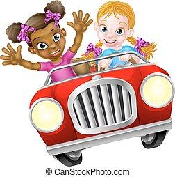 autó, leány, gyerekek, karikatúra, vezetés