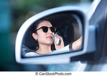 autó, leány, hívás