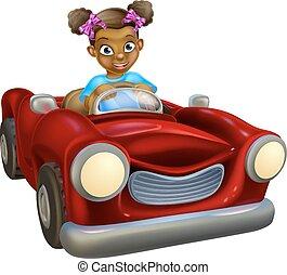 autó, leány, karikatúra, vezetés