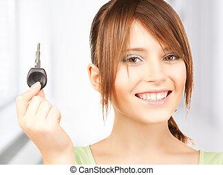 autó, leány, kulcs, boldog