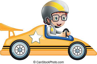 autó, leány, versenyzés, sárga, neki
