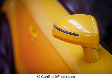 autó, lejtő, sárga, tükör