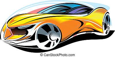 autó, lenni, sárga, tervezés, elkészített, én, új