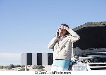 autó, letör, hansúlyos, nő