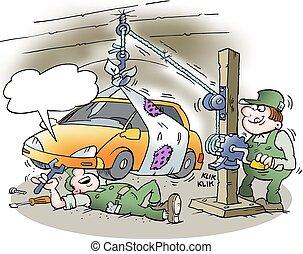 autó, lift, szerelő, házi készítésű
