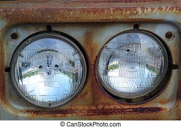 autó, lights.