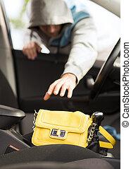 autó, lopás, tolvaj, táska