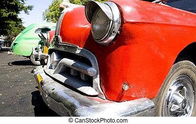autó, mód, öreg, piros