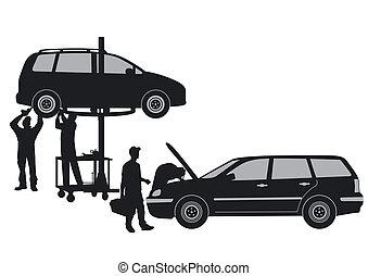 autó, műhely