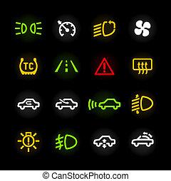 autó, műszerfal, ikonok
