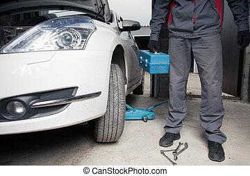 autó, mechanic., autó megjavítás, service.