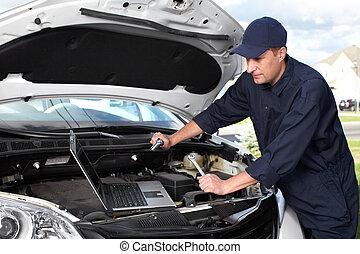 autó, mechanic.