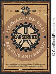 autó megjavítás, és, szerelő, szolgáltatás, retro, poszter