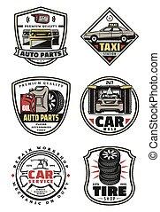 autó megjavítás, bolt, és, szolgáltatás, garázs, szüret, jelvény