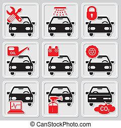 autó megjavítás, ikonok
