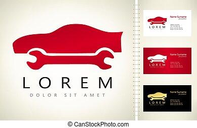 autó megjavítás, illustration., tervezés, logo.