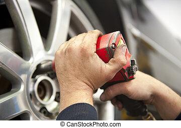 autó megjavítás, szerelő, -ban, autó, garázs