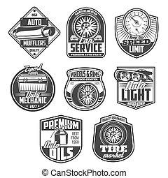 autó megjavítás, szolgáltatás, és, szerelő, garázs, ikonok