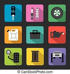 autó megjavítás, szolgáltatás, lakás, ikonok