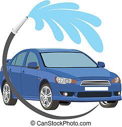 autó megmosakszik