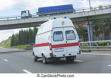 autó, mentőautó, képben látható, a, autóút