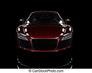 autó, modern, elszigetelt, háttér., black piros