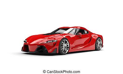 autó, modern, mély, sport, szuper, piros