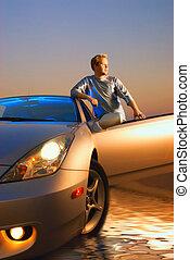 autó, modern, napnyugta, idő, pasas, sport, jelentékeny
