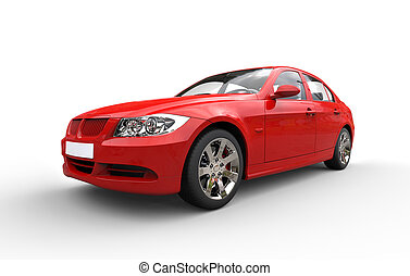 autó, modern, piros