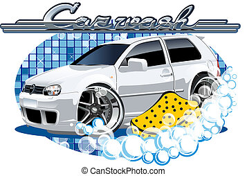 autó, mosás, aláír, noha, szivacs