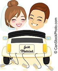 autó, mosolygós, házaspár, igazságos