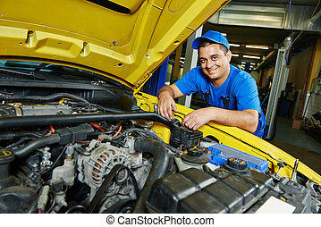 autó, mosolygós, repairman, szerelő