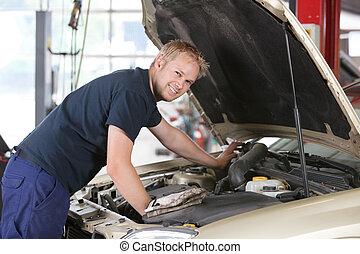 autó, mosolygós, szerelő, dolgozó