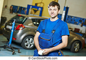 autó, munka, repairman, szerelő