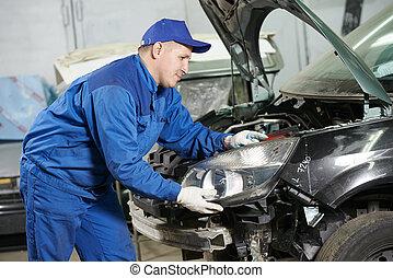 autó, munka, szerelő, rendbehozás