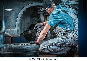 autó, munka, szerelő