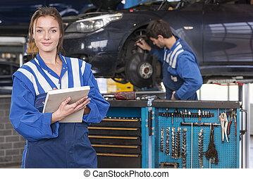 autó, női, szerelő, garázs