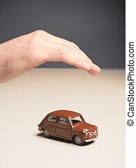 autó, oltalom, biztonság, fogalom