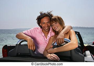 autó, párosít, átváltható, boldog