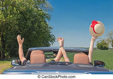 autó, párosít, boldog, idősebb ember, sport