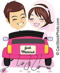 autó, párosít, házas, igazságos