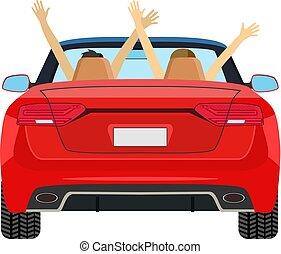 autó, párosít, raised., vezetés, fegyver