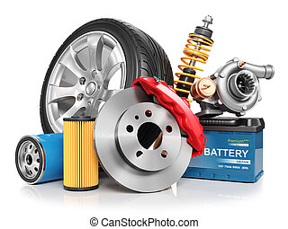 autó, parts., állhatatos, render, 3