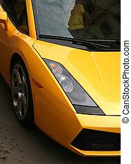 autó, pazar, sárga