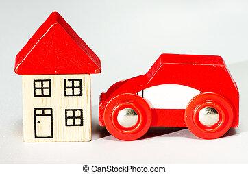 autó, piros, épület