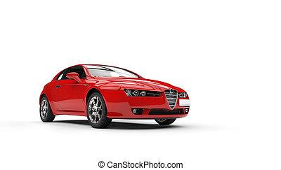 autó, piros, család, új
