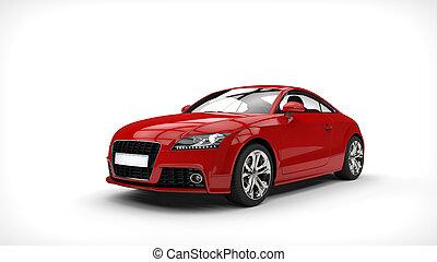 autó, piros, erő