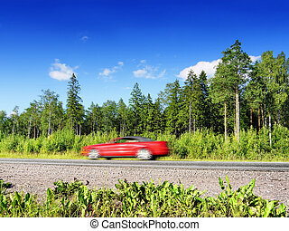 autó, piros, gyorshajtás