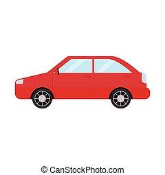 autó, piros háttér, fehér